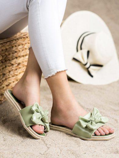 Trendy  nazouváky zelené dámské bez podpatku