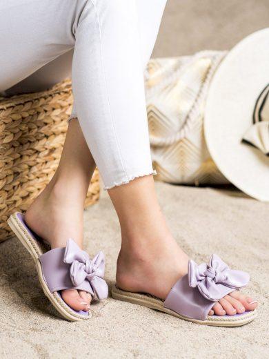 Originální  nazouváky fialové dámské bez podpatku
