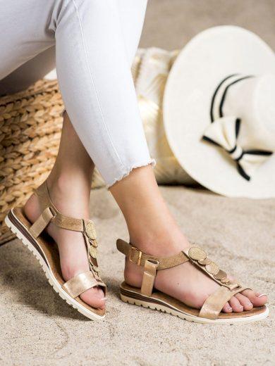 Módní zlaté dámské  sandály bez podpatku