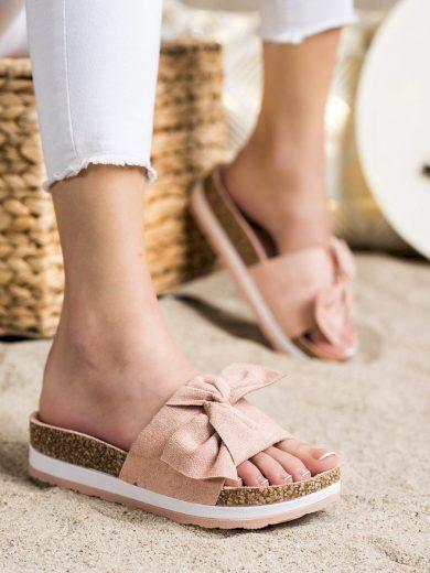 Komfortní růžové  nazouváky dámské bez podpatku