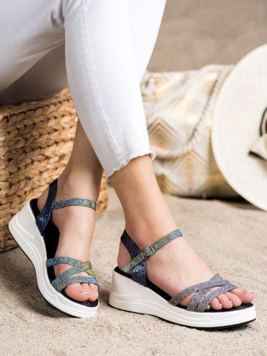 Krásné  sandály dámské modré na klínku