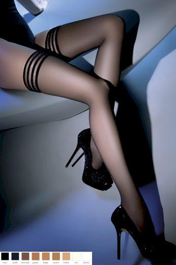 Samodržící punčochy Calze Lux nero - GABRIELLA