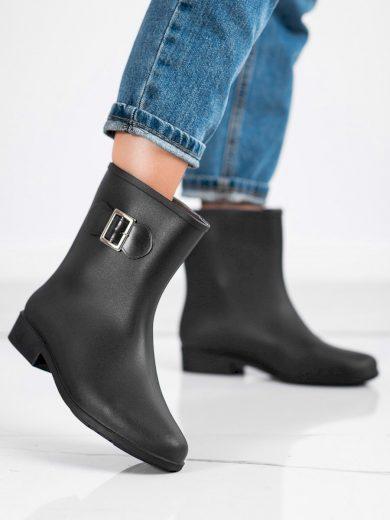 Módní černé dámské  gumáky na plochém podpatku
