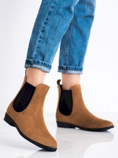 Komfortní  gumáky dámské hnědé na plochém podpatku