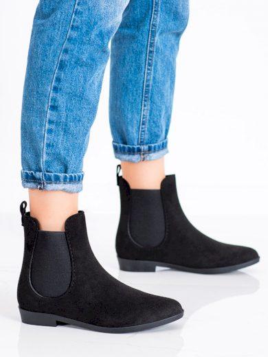 Luxusní  gumáky dámské černé na plochém podpatku