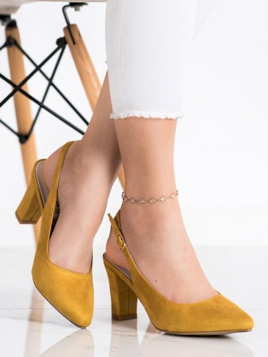 Pěkné zlaté  lodičky dámské na širokém podpatku