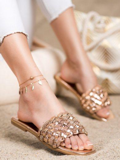 Luxusní zlaté  nazouváky dámské bez podpatku