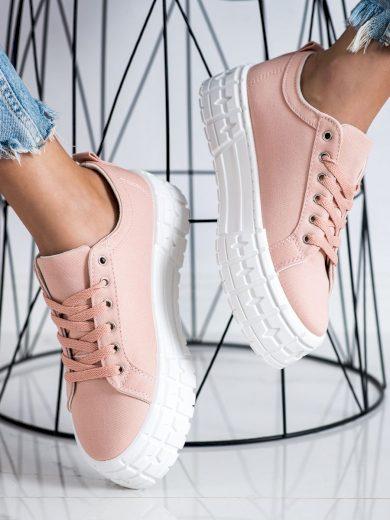 Zajímavé  tenisky dámské růžové bez podpatku