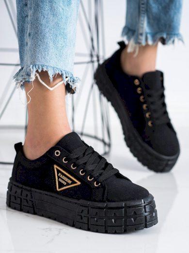 Trendy dámské černé  tenisky bez podpatku
