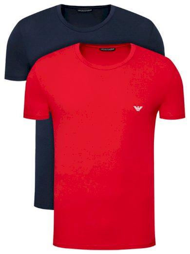 Pánské tričko 2-pack 111267 1P720 34374 tmavě modrá/červená - Emporio Armani
