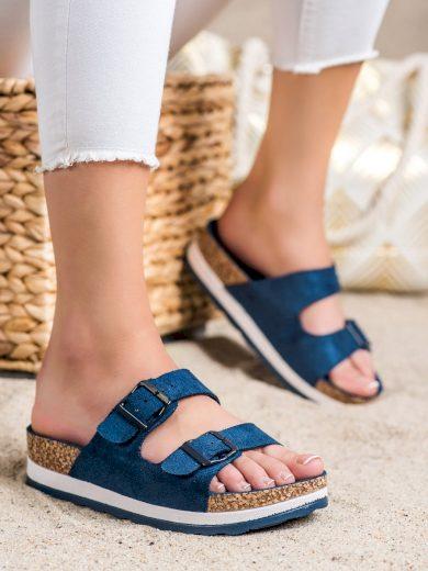 Pěkné  nazouváky modré dámské bez podpatku