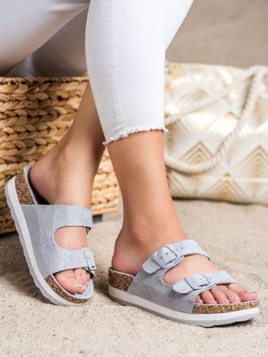 Moderní dámské šedo-stříbrné  nazouváky bez podpatku