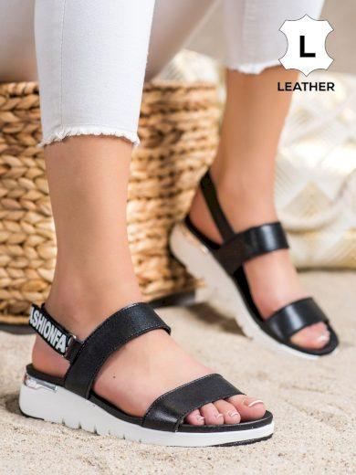 Designové dámské  sandály černé bez podpatku