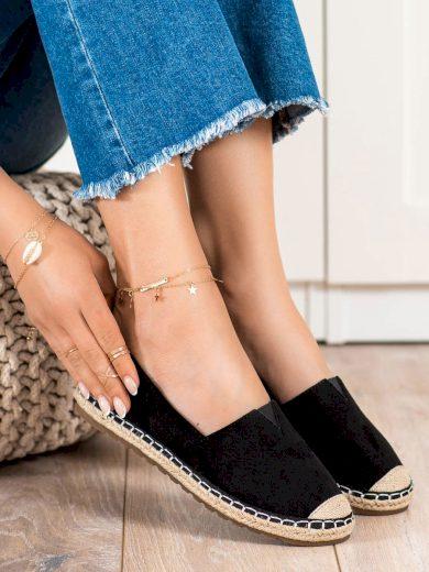 Trendy dámské  polobotky černé bez podpatku