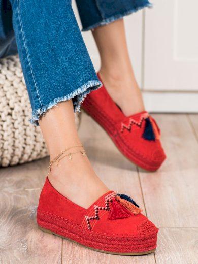 Designové dámské červené  polobotky bez podpatku