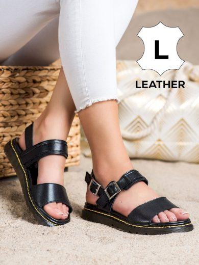 Módní  sandály dámské černé bez podpatku