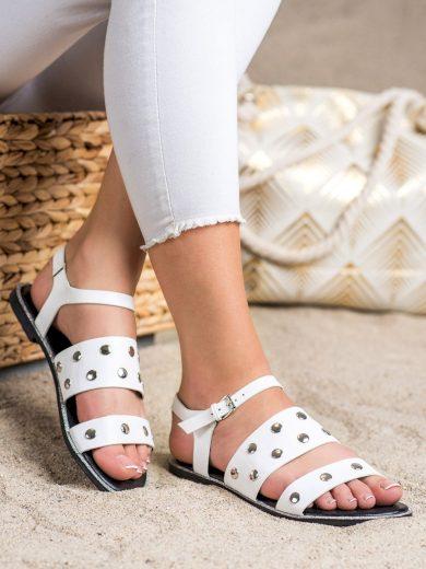 Luxusní bílé  sandály dámské bez podpatku