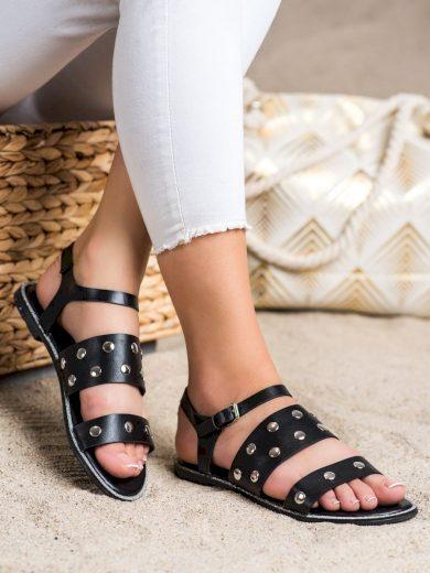 Exkluzívní černé dámské  sandály bez podpatku