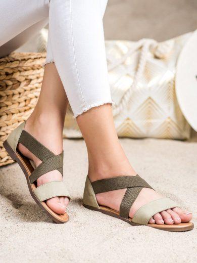 Exkluzívní  sandály zelené dámské bez podpatku