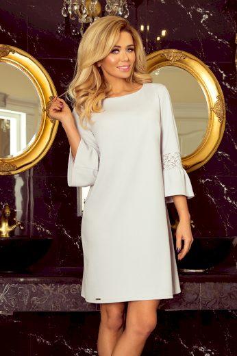 Světle šedé dámské šaty s krajkou na rukávech model 5917691