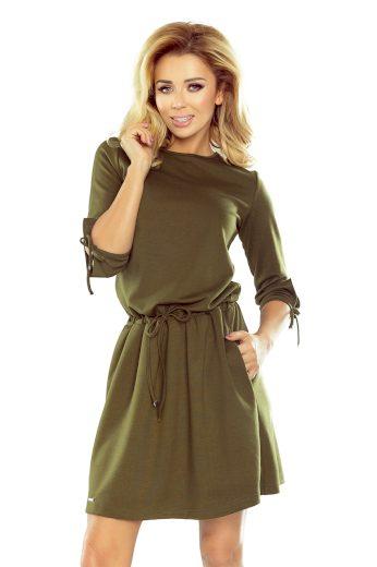 Sportovní šaty v military zelené khaki barvě se zavazováním na rukávech model 5517102