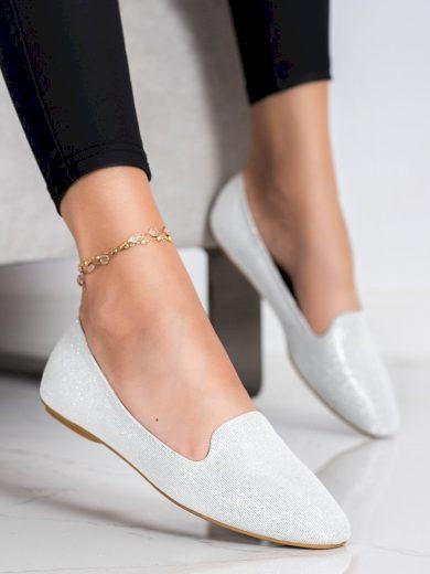Designové šedo-stříbrné  baleríny dámské bez podpatku