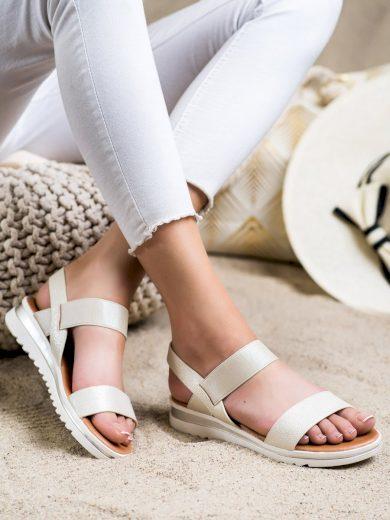 Moderní  sandály dámské zlaté bez podpatku