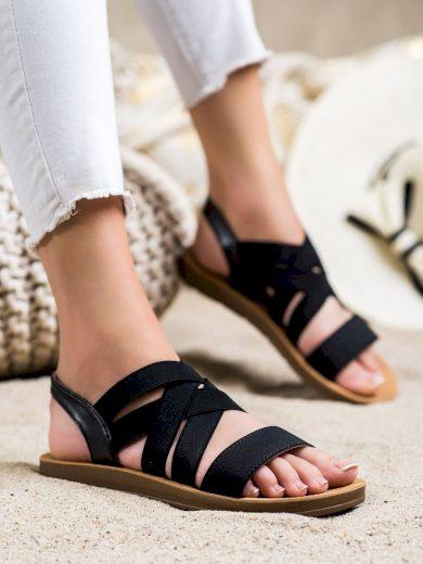 Zajímavé  sandály dámské černé bez podpatku