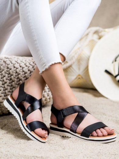 Krásné  sandály dámské černé bez podpatku