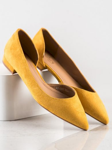Stylové zlaté  baleríny dámské bez podpatku
