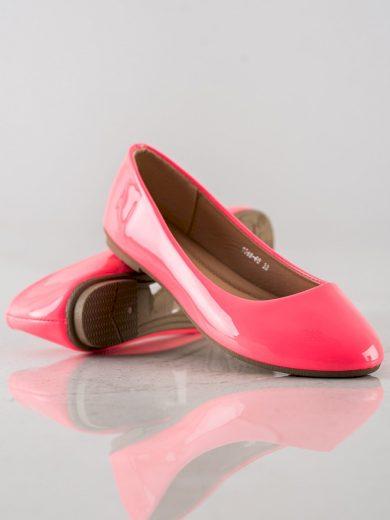 Módní dámské růžové  baleríny bez podpatku