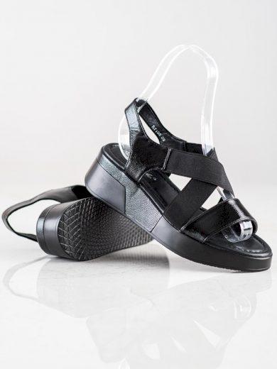Komfortní  sandály černé dámské na klínku