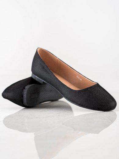 Jedinečné  baleríny dámské černé na plochém podpatku