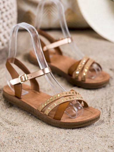 Klasické  sandály hnědé dámské bez podpatku