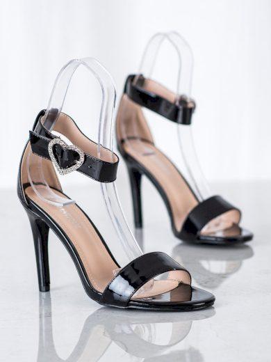 Moderní dámské černé  sandály na jehlovém podpatku