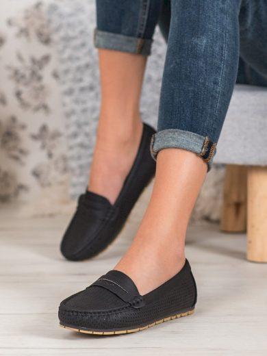 Originální  mokasíny dámské černé bez podpatku