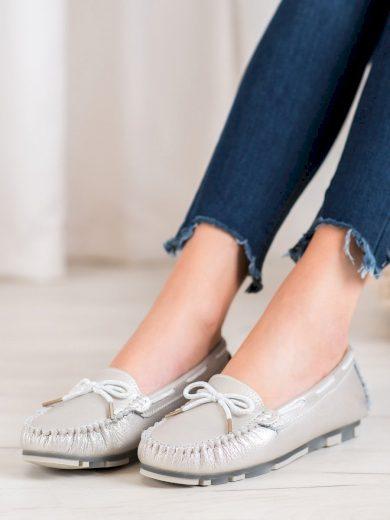 Praktické šedo-stříbrné  mokasíny dámské bez podpatku
