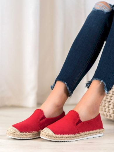 Výborné  baleríny dámské červené bez podpatku