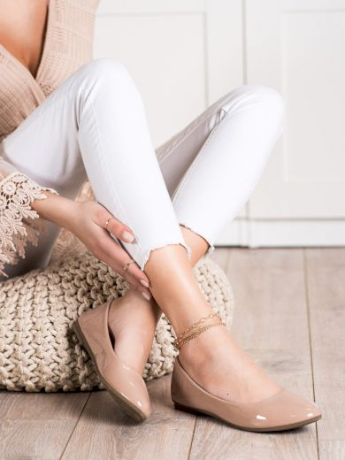 Originální dámské hnědé  baleríny bez podpatku