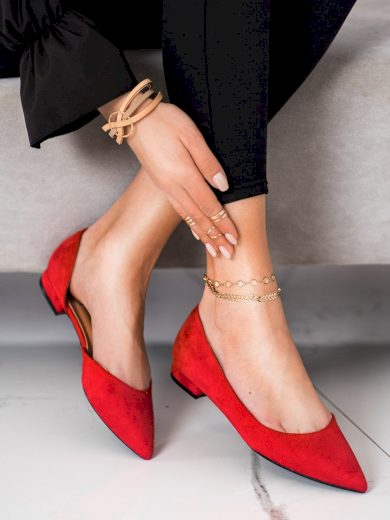 Zajímavé červené  baleríny dámské bez podpatku
