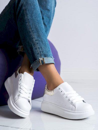 Klasické bílé  tenisky dámské bez podpatku