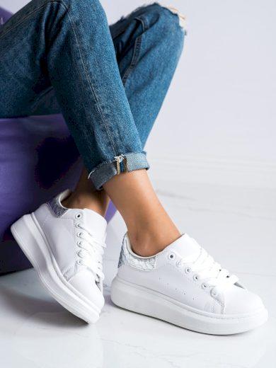 Zajímavé bílé dámské  tenisky bez podpatku