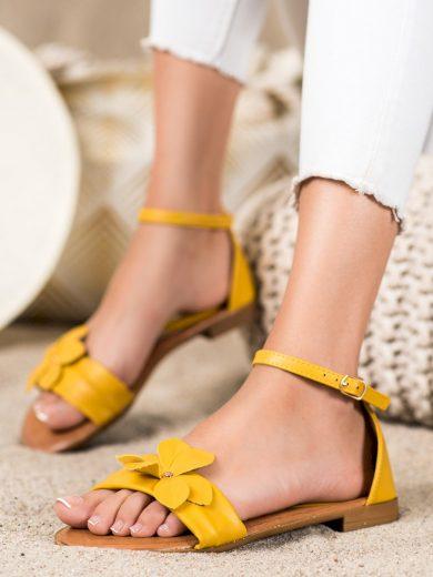 Luxusní zlaté  sandály dámské na plochém podpatku