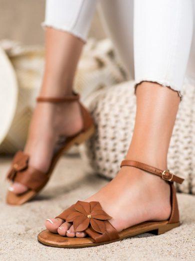 Exkluzívní dámské hnědé  sandály na plochém podpatku