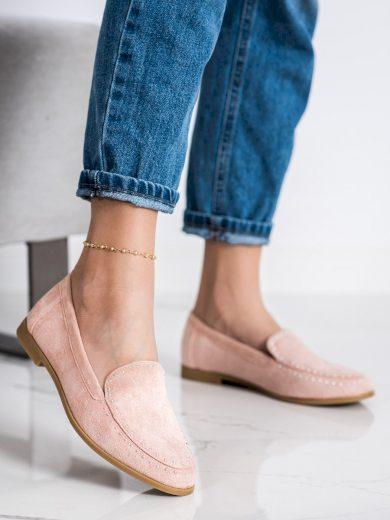 Pohodlné růžové  mokasíny dámské na plochém podpatku