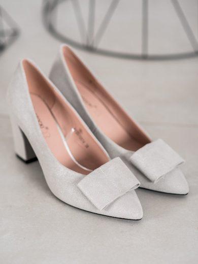 Pěkné dámské šedo-stříbrné  lodičky na širokém podpatku