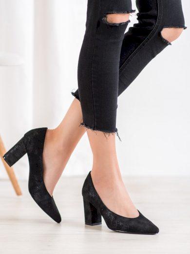 Klasické dámské  lodičky černé na širokém podpatku