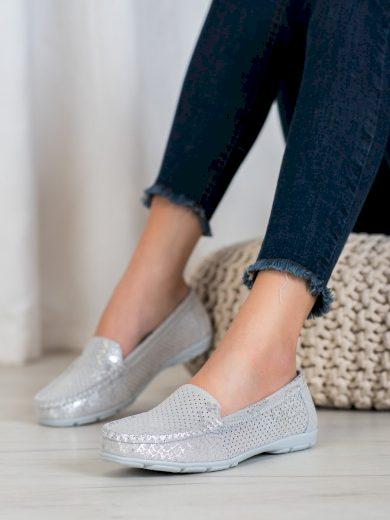 Módní dámské  mokasíny šedo-stříbrné bez podpatku