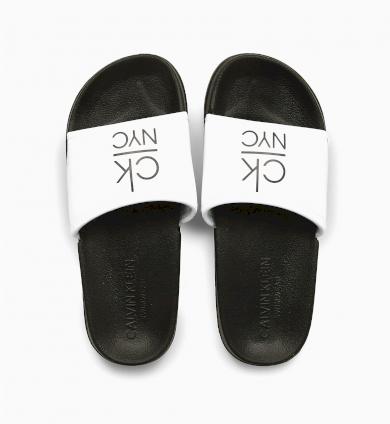 Pantofle KW0KW01054-YCD černobílá - Calvin Klein
