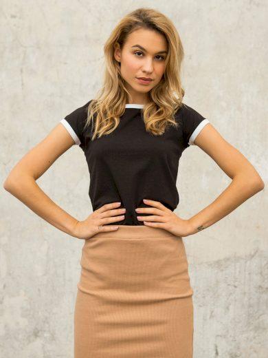 Černé bavlněné dámské tričko FOR FITNESS